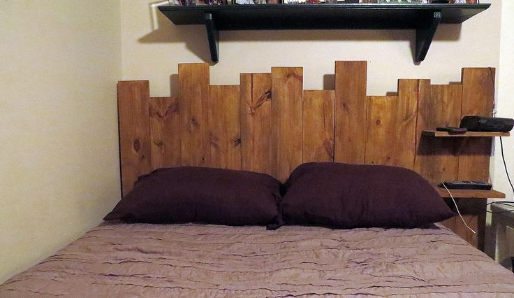 Full Size bed, Headboard. Hand crafted cedar boards. 66 in wide, 48 in tall. floating shelves.
