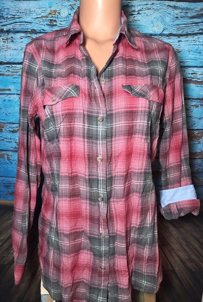 Eddie Bauer Women's Pink Plaid Button Down Shirt Sz L Large  | eBay