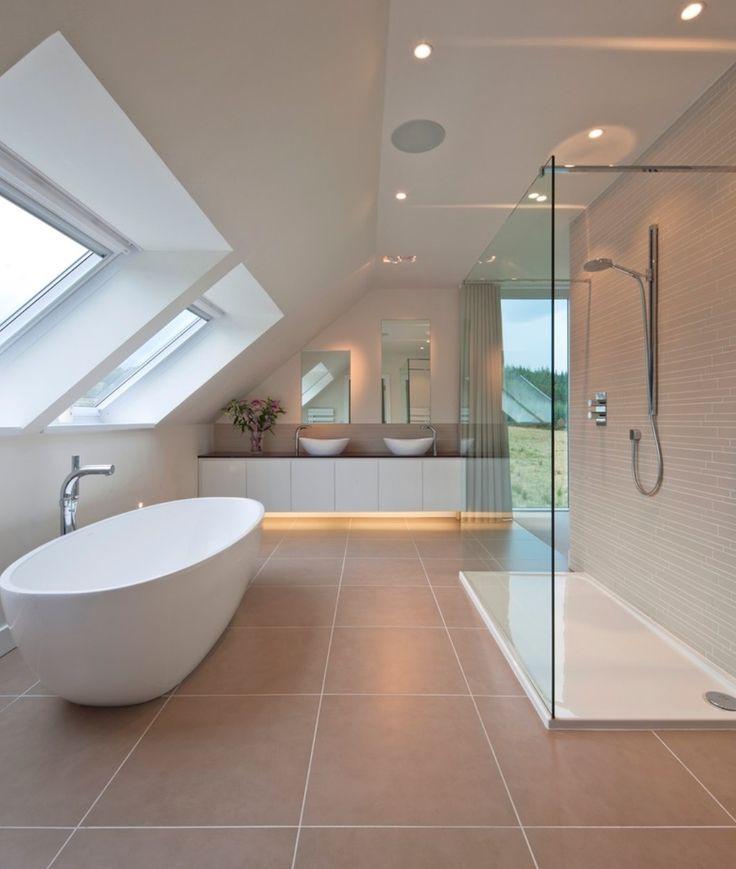 Slanted ceiling bathroom