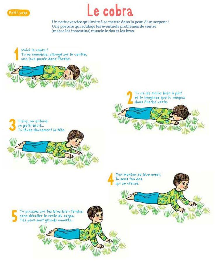 Afocal Bretagne. Idées yoga enfant. Pour les retours au calme et la détente. Attention à bien l'utiliser. LE COBRA... muscle le dos et les bras.