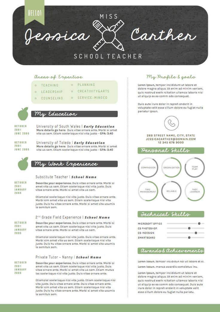 16 best cv design images on Pinterest Resume templates, Resume - preschool teacher resume example