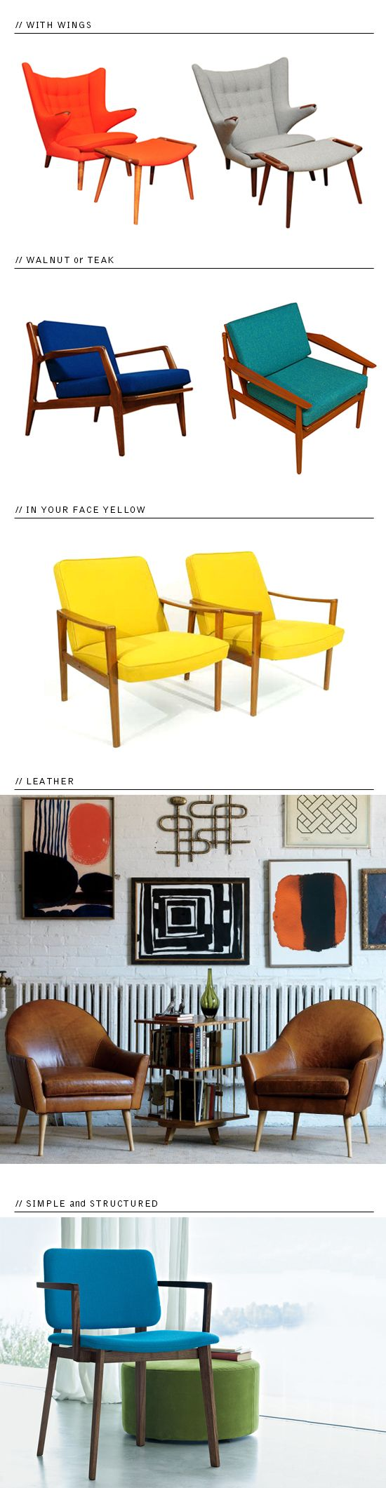the orange black and white graphics with brown leather chairs. love. {chairs-danish}