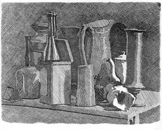 This is an etching by Giorgio Morandi of some bottles. I like the shading and the way he has done the cross hatching.