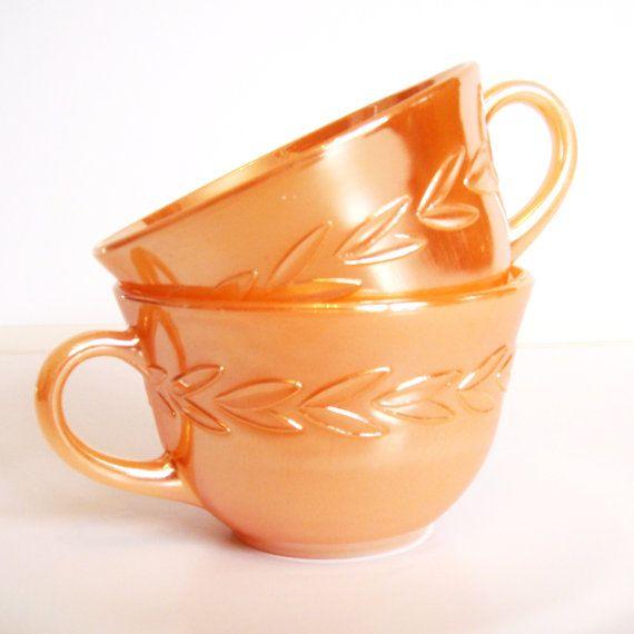 Fireking Peach Laurel Leaf Lusterware Cups, Set of 2 Luster Peach Coffee Cups, Orange Tea Cup, Mid Century Kitchen