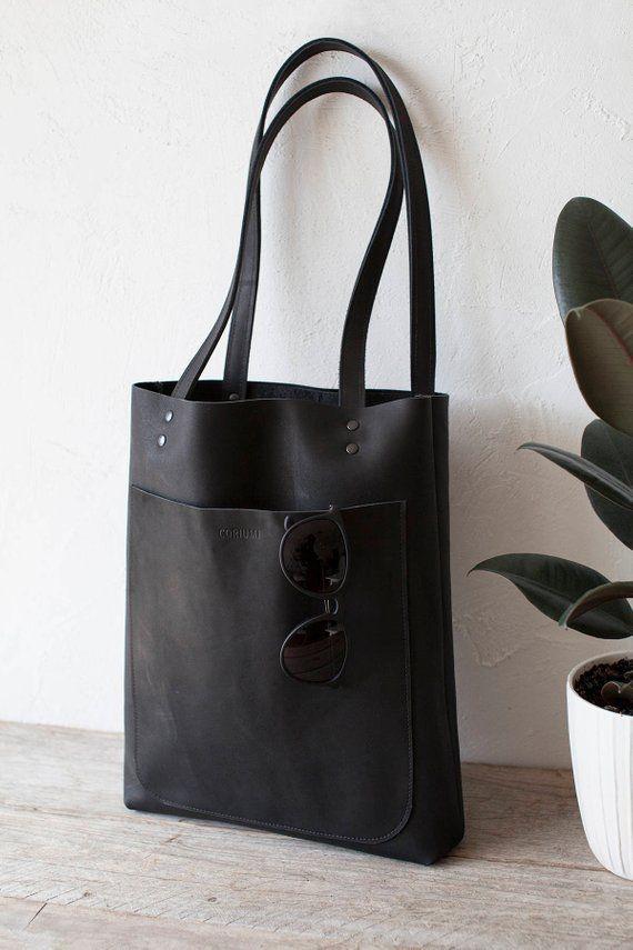 e82be417232c Black Matte Leather Tote tas zwart lederen tas voorvak zak