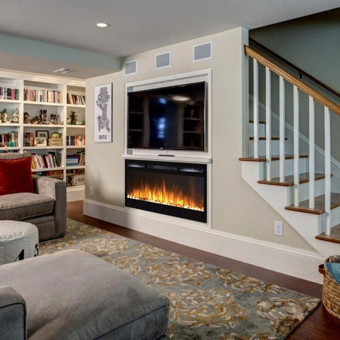 Jemaine Wall Mounted Electric Fireplace Basement Remodeling