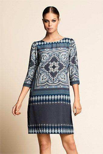 Women's Dresses - Emerge Scarf Print Dress - EziBuy Australia