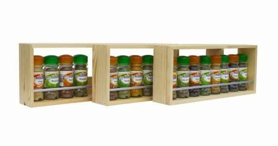 Solid Pine Spice Rack Contemporary Minimalist Style Single Shelf Freestanding or Wall Mounted Kitchen Storage