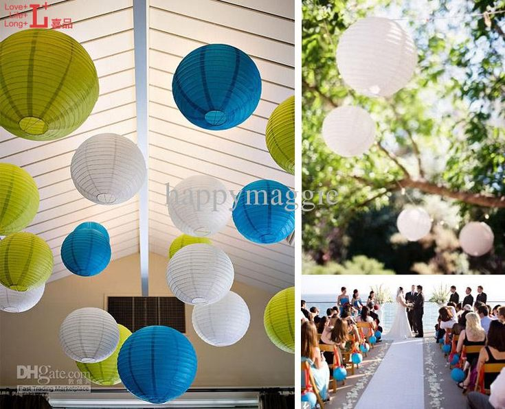 Love this color combination! - Would use Honeycomb balls in same colors instead of Paper Lanterns