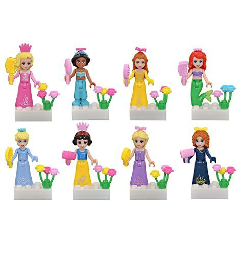 Girl's Toy, Beautiful Princess Building Blocks Minifigure Sets Compatible with Lego  Beautiful girl's princess minifigure building block, you can use it to build your fairy tale world.  Compatible with lego's size, put these princesses into your building blocks, it will be a wonderful thing.  Girls' blocks toy,including 8 popular fairy tale princesses.  8 pc princess minifigures- unassembled, separate bags.  Materials: abs 100 % safe plastic.  Great present, or split them up as party f...