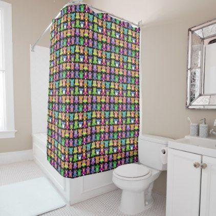 furby frenzy on black shower curtain