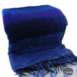 Tibetaanse omslagdoek, blauw/paars. Fairtrade.