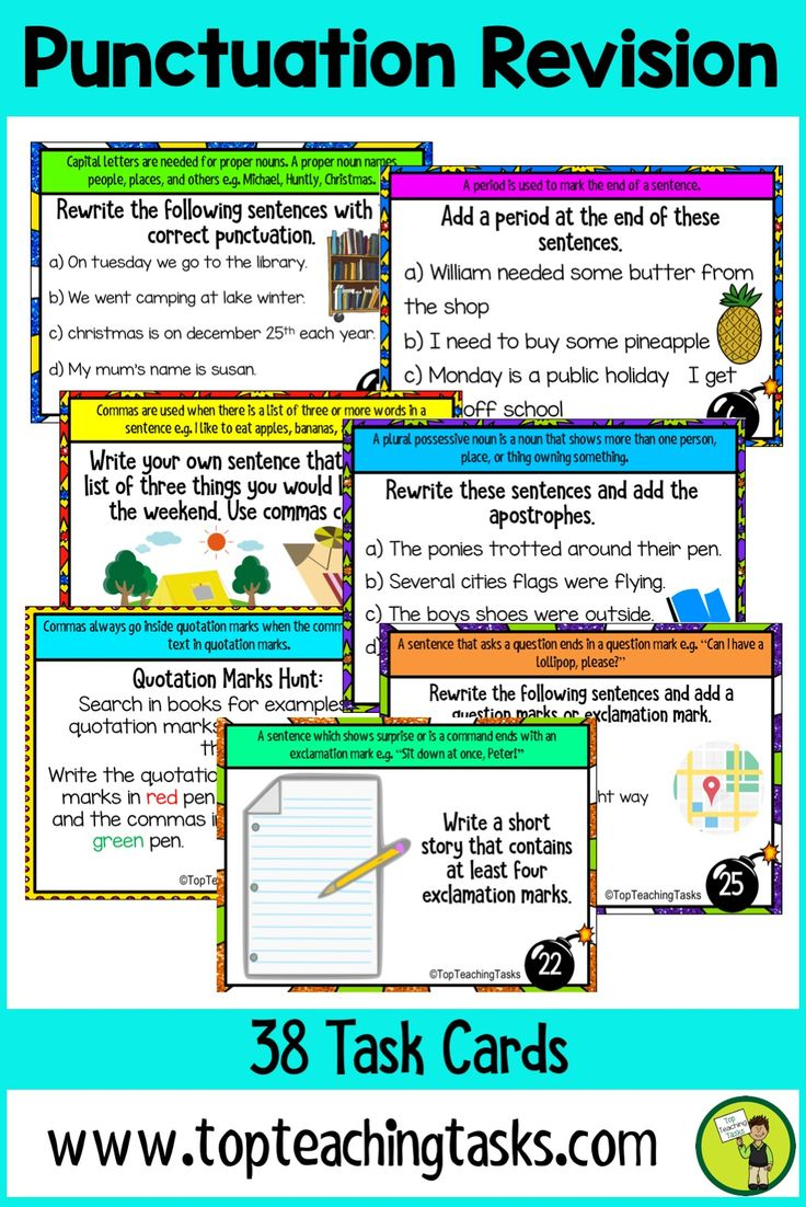 """ These Punctuation task card activities feature 32 task cards for Grade 3 and Grade 4 (Year 3, Year 4, Year 5, Year 6). Develop your students' understanding of the important punctuation tools. Featuring capital letters, periods, full stops, commas, question marks, exclamation marks, quotation marks, apostrophes. Suitable for Grade Three and Four. 3rd Grade, 4th Grade Punctuation #punctuationp"