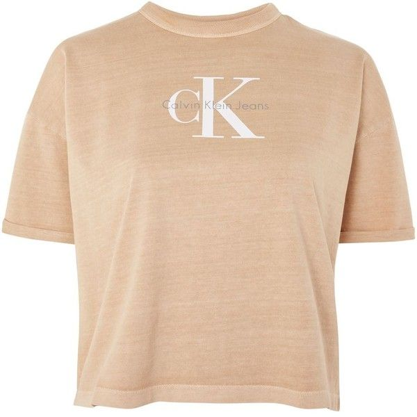 Short Sleeve Crop T-Shirt by Calvin Klein ($64) ❤ liked on Polyvore featuring tops, t-shirts, cream, beige t shirt, retro t shirts, cream t shirt, cotton t shirts and calvin klein top