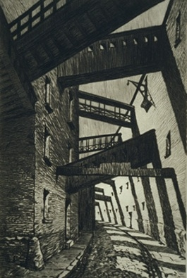 Pickle Herring Street, Southwark by Sybil Andrews  (drypoint etching on paper)