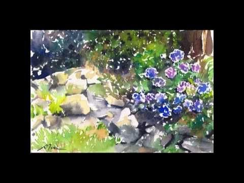 How to paint hydrangea and lotus flowers with watercolor