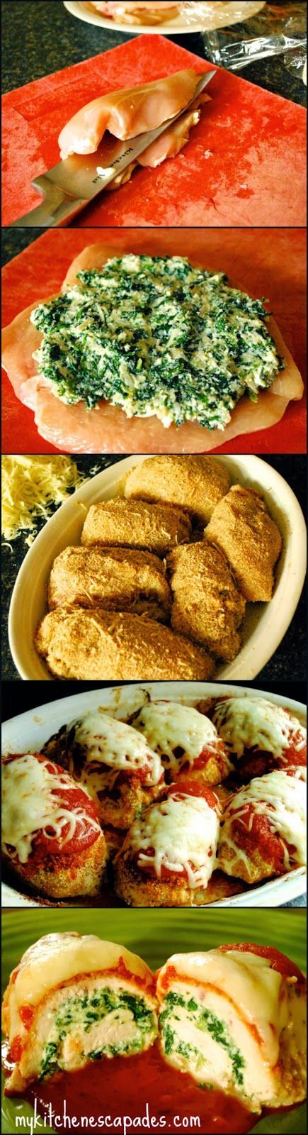 Chicken Parmigiana Rollatini - My Kitchen Escapades - this looks like a fancy dinner recipe but it is much easier than it looks!  A delicious low carb dinner option