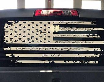 Distressed Pledge Flag Vinyl Decal Usa American Flag Decal