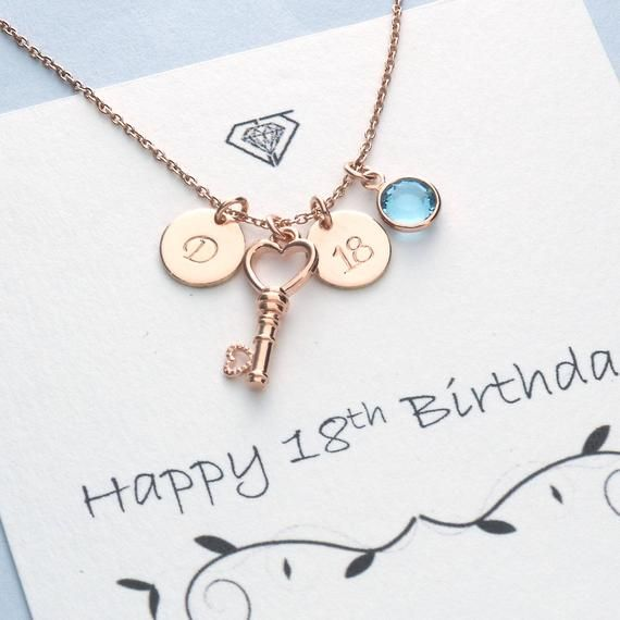 18th Birthday Gift Jewellery for Someone Special. 18 Necklace with Birthstone