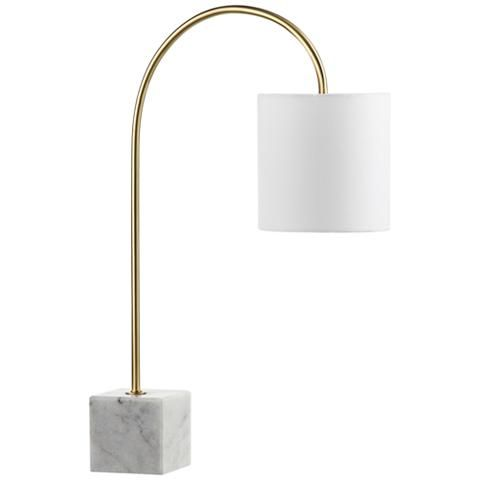 Sleek and chic in a home office or on a nightstand, this contemporary desk lamp offers an arched body.