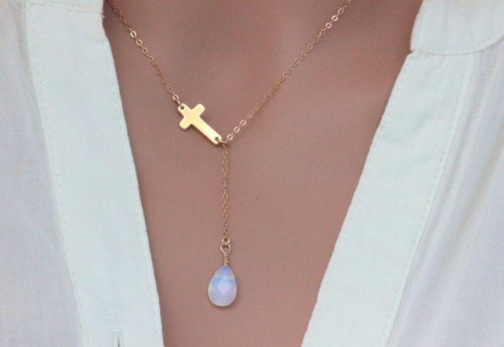 Cross Necklace, Sideways cross Necklace, Gold Opal cross necklace, Celebrity Cross  necklace, personalized Birthstone necklace,Cross Lariat by rainbowearring1 on Etsy https://www.etsy.com/listing/247868951/cross-necklace-sideways-cross-necklace
