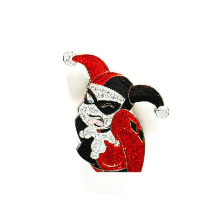 """Harley Quinn, pleased to metcha!""- 1.5 Inch Glitter Enamel Paint- Clear Epoxy for extra shine!- High Polished Nickel backing - Painless Dual Post Backing (Rubber)- World Wide..."