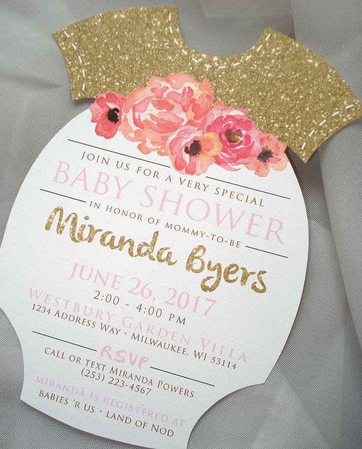 wedding shower invite sample%0A In Full Bloom Baby Shower  Floral Baby Shower Invitation  Glitter Shower  Invite Set  Onesie Shape Invitation  Watercolor Floral Baby  Sample