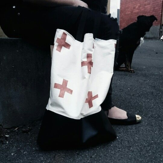Handpainted tote bag with copper swiss crosses