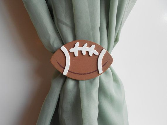 Football Curtain Tie Backs - Sports Themed Nursery - Baby Boy - Little Boy Nursery Decor - Sports Nursery Decor on Etsy, $14.20