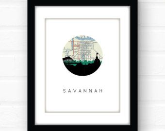 Savannah Georgia southern decor | Savannah art print | Savannah map art | Savannah skyline | Savannah Georgia on my mind | Savannah GA art