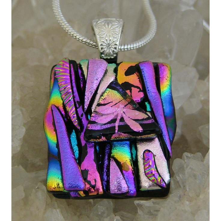 Picasso Style Dichroic Glass Pendant includes necklace PS2