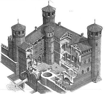 Castello degli acaia poi palazzo madama ricostruzione i for Disegni casa castello