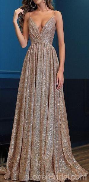 Spaghetti-Trägern glitzernd lange Abendkleider Prom, günstige Custom Sweet 16 Dresse …   – Prom Dresses 2019