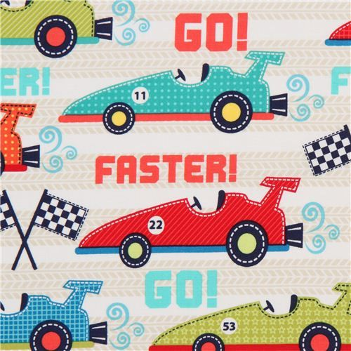 white racing car fabric for boys Faster Michael Miller USA