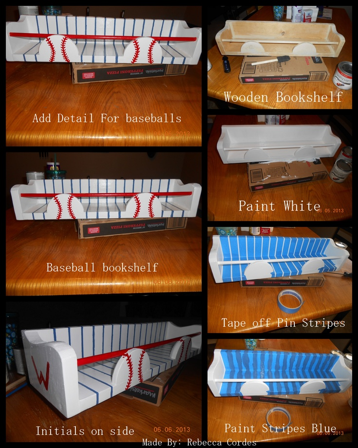 Baseball DIY Boy Pinstripes Bookshelf Kids