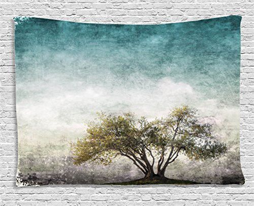 Ambesonne Tree of Life Decor Collection, Grunge Landscape with Single Tree and Retro Background Rustic Home Decor, Bedroom Living Room Dorm Wall Hanging Tapestry, 80 X 60 Inches, Teal Green Beige