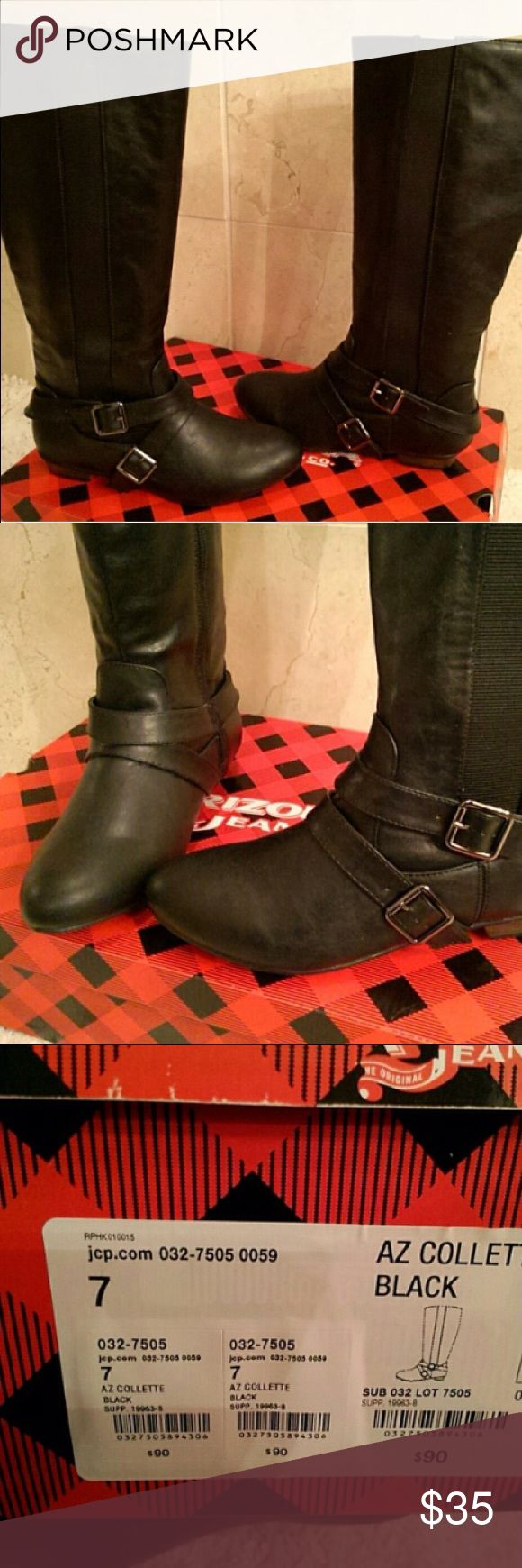 """AZ Collette black boots cute black boots with 2 silver buckles for accent; low 1"""" heel; round toe - all up to very comfortable; elastic panel run all the way down the side of the boot; man made materials; Arizona brand; size 7  ; new with tags (box) Arizona Jean Company Shoes Winter & Rain Boots"""