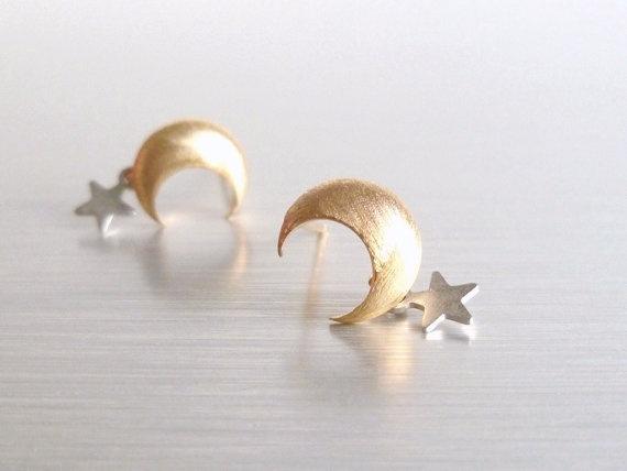 Star Moon Earrings :)))))