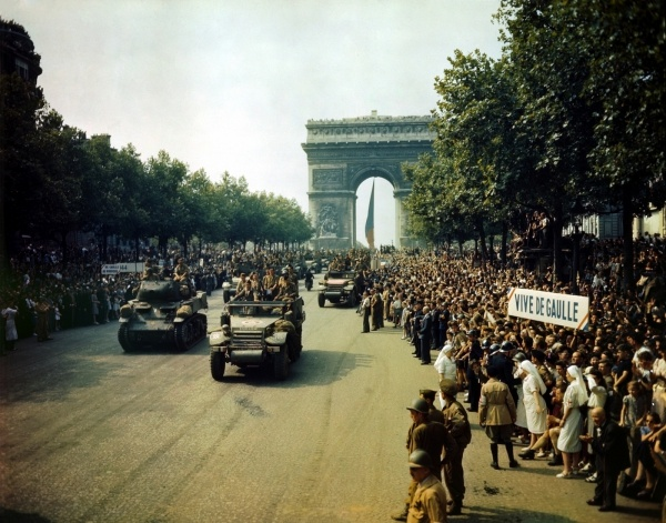The Champs-Elysées in Paris after the city was liberated on August 26, 1944.