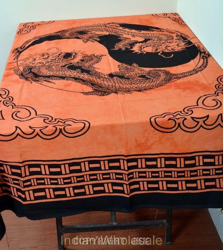 Indian Orange Dragon Print Rectangular Cotton Tablecloth Dining Cover IWUSTC13