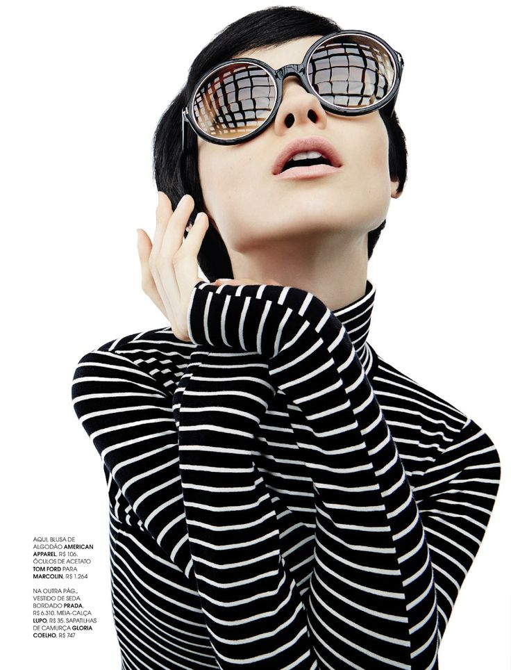 60s style | marie claire brazil, april 2013  Striped sizzle!  her hair could be a hot mess-or geometric perfection-who cares?!!