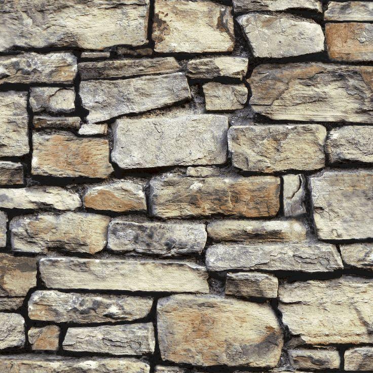 Cornish Stone Brown Brickwork Wallpaper | Departments | DIY at B&Q