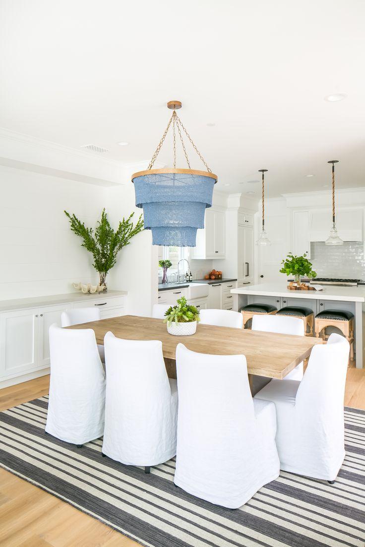 Beachy dining room, dusty blue layered light fixture // modern coastal