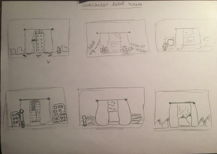 Varianten scene hotelkamer - tekeningen op muren/ gordijnen gerelateerd aan de uitkijk
