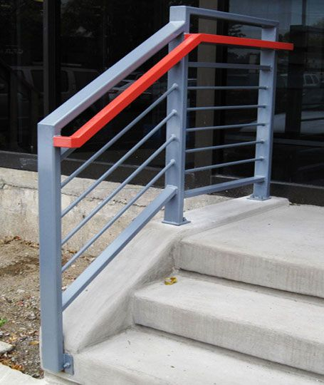 A custom exterior commercial heavy metal railing for an for Office design northbrook il