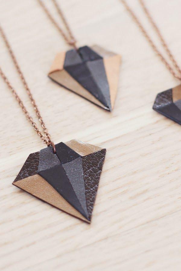 DIY: leather diamond necklace