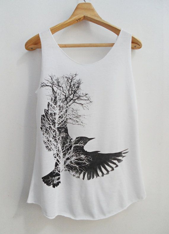 BIRD shirt lady shirt Tank Top White Shirt Tunic Top by kumajung, $12.00