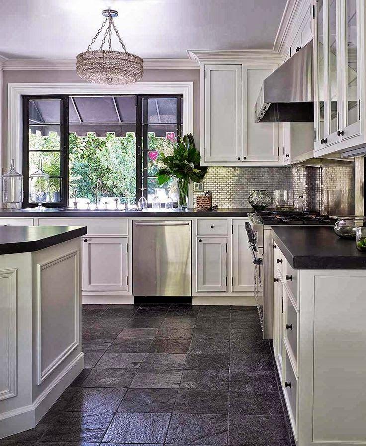 Picture of Deniot Kitchen Slate Flooring with White Cabinets  Dark Kitchen  FloorsDark Tile  745 best Slate Flooring images on Pinterest   Slate flooring  . Dark Tile Floor Kitchen. Home Design Ideas