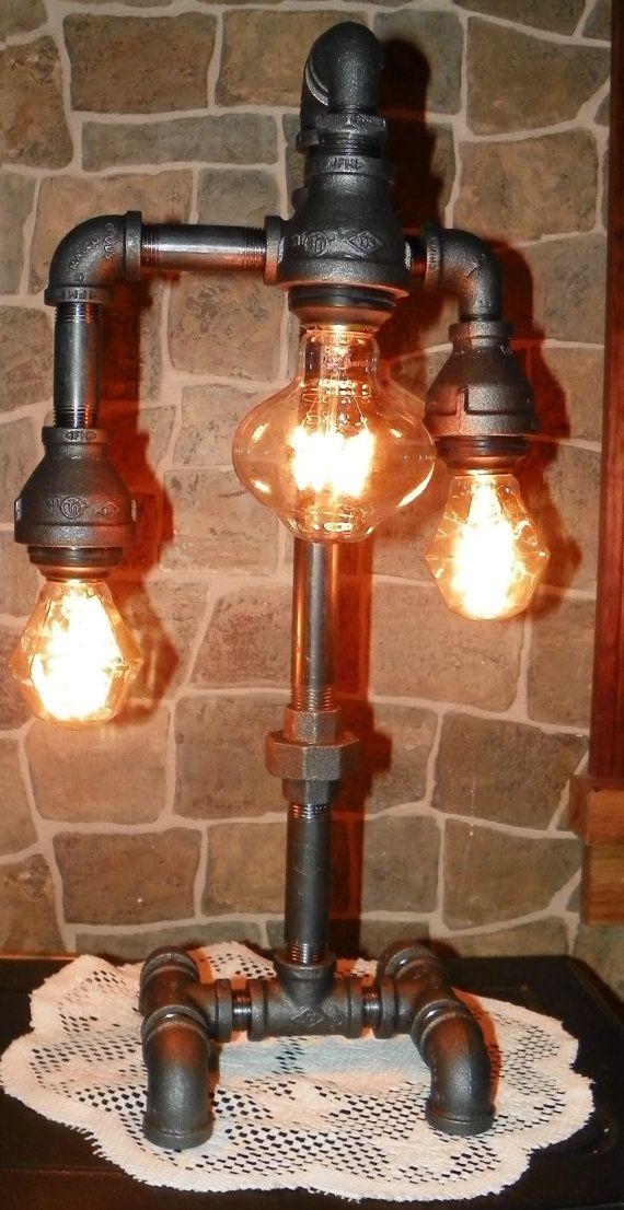 3 tier industriële pijp bureaulamp met edelsteen door MrWillies