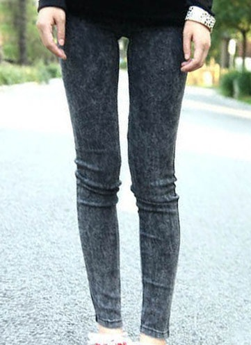 distressed denim leggings.